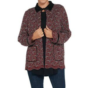 NEW LOGO By Lori Goldstein Floral Lace Jacket